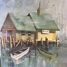 Oil on Canvas Fishing Boat Scene Painting