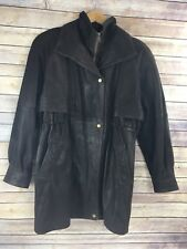 Vintage Wilsons Leather Car Coat Brown Small S Long Mens Bomber Thinsulate