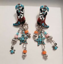 Lunch at The Ritz 2GO Cowgirl Boots Rhinestone Enamel Earrings Pony Posts NWT