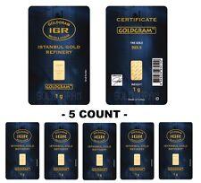 Lot of 5 - 1 Gram IGR Mint 999.9 Gold Bar Sealed with Assay Certificate 24 Karat