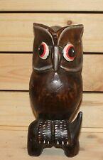 Vintage hand carving wood owl figurine