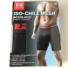 "NEW Under Armour Mens M (30-32) ISO-CHILL Mesh 9"" Boxerjock Boxer Brief, Black"