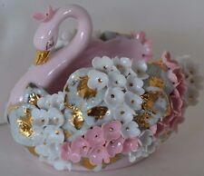 Vintage Lefton Pink White Gold Swan Bowl Dish Planter Figure