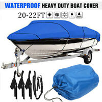 20-22ft Heavy Duty Waterproof Boat Cover 210D Speedboat V-Hull Fish Marine Blue