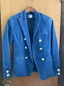 Womens Boston Proper Fitted Double Breasted Denim Blazer XS