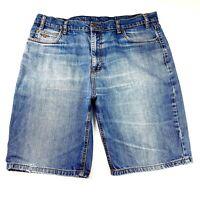 RM Williams Men's Sz 38 ST087.6V Blue Zip Fly Medium Wash Long Denim Shorts