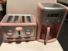 Cookin For Kids Kitchen Pink Toaster! Bread Pops Up. & Coffee Maker EUC!