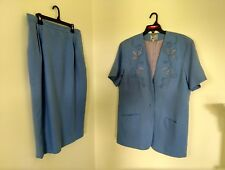 Katherine Bishop Sz18 blue Church Suit embroidered floral applique lined 2-piece