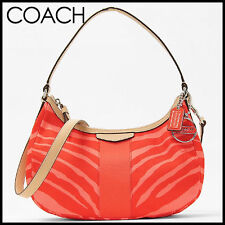 NWT COACH SIGNATURE STRIPE ZEBRA PRINT PINK TULLE/TAN CROSSBODY BAG PURSE F27386