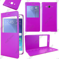 Housse Coque Etui Fenêtre View PU Cuir Violet Samsung Galaxy J5 SM-J500F