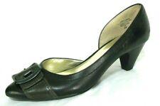 Nine & Co Shoes Sz 8 D'Orsay Pump Heels Pointed Toe Black Brown Leather Belisma