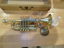 Vintage 60's EMENEE Toys The Golden Trumpet Toy Instrument & Carrying Case