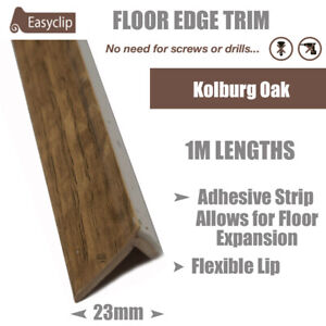 Kolburg Oak 100cm Long Room Edge Trim Profile Adhesive Allows Floor Expansion