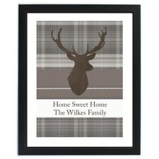 PERSONALISED STAG FRAMED PRINT | Modern Stags Head Checked Picture Reindeer