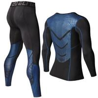 Men Pants Set Compression Long Sleeve T-shirt MMA Shirt Fitness Gym Workout Suit