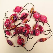 Mixed assortment Pink Handpainted Wood Craft Beads Jewelry Necklace