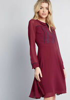 ModCloth Performative Burgundy Red Collared Floral Embroidered Dress M Medium