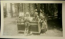 Vintage Old 1950's Photo 4 Cute Children Boys Girls in Trailer Camping Vacation