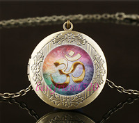 Vintage Gold Om Tarot  Photo Cabochon Glass Brass Locket Pendant Necklace