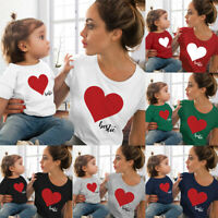 Family Matching Outfits Mother&Daughter Shirt T-shirt Heart Print Clothes #@