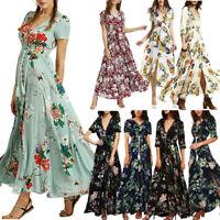 Women's Boho Dress Button up Split Floral Flowy Cocktail Party Long Maxi Dress