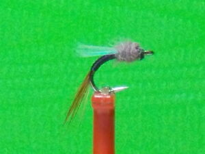 Johnny Flash  Midge Emerger Fly (sz.22  Black with Flash Wing) HOT PATTERN