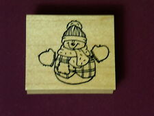 Embossing Arts 1998 Welcoming Open Arms Snowman Hat Holiday Wood Rubber Stamp