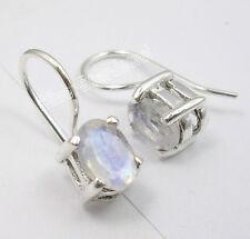 Echte 925 Silber-Ohrringe Facettiertem MONDSTEIN Klasse Schimmer Krappenfassung