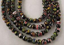 1 strand Black Millefiori Glass Round Beads 6mm C716