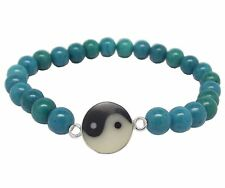 YIN and YANG BRACELET 925 Sterling SILVER and TURQUOISE Gemstone : Elasticated