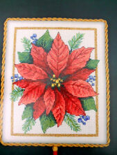 Poinsettia Elegance Counted Cross Stitch Kit Gold Nuggets Dimensions Aida Cloth