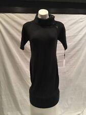 NWT Women's CALVIN KLEIN Short Sleeve Sweater Dress Zipper Neck Charcoal Size S
