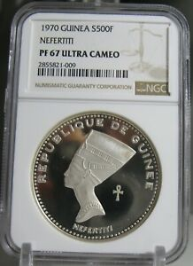 1970 Guinea 500 Francs Silver Proof Nefertiti NGC PF67 Ultra Cameo