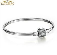 925  Silver Snake Chain Bracelets Bangle Fit sterling  European Beads Charm st2