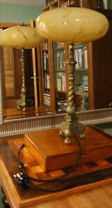 Art Deco, Schreibtischlampe, kleine Stehlampe, massiv Messing, Überfangglas