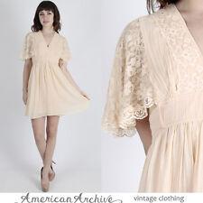 Vintage 70s Boho Wedding Dress Sheer Floral Lace Flutter Slv Hippie Prairie Mini