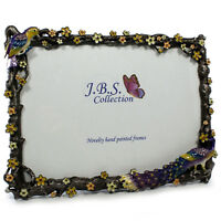 Bejeweled peacock in garden photo frame, enamel painted with crystals in 5 x 7