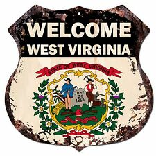 BP-0083 WELCOME WEST VIRGINIA State Flag Shield Chic Sign Bar Shop Home Decor