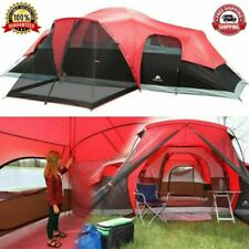 Family Camping Tent Outdoor Waterproof Stakes 3 Room 10 Person Large Size Red