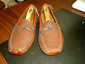 LL Bean Mens Brown Pebbled, All Leather, Double Soled Moccasin / Slippers, 13 D.