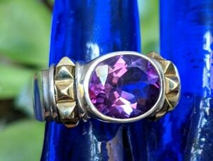 Lagos Caviar Purple Oval Amethyst Sterling 925 18k Yellow Gold 750 Ring Size 8