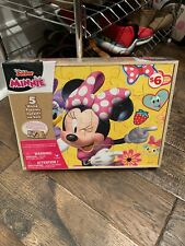 Disney Junior Minnie Mouse 5 Wood Puzzles with Storage Tray NEW