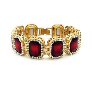 MENS ICEY RUBY RED DIAMOND GOLD FINISHED BRACELET LABMADE HIP HOP RAPPERS