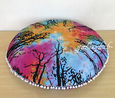 """32"""" Large Round Pouff Cover Floor Decorative Cushion Tie Dye Pillow Covers Throw"""