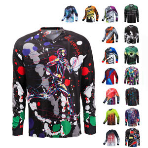 New Mens Cycling Jersey Downhill T-Shirt Long Sleeve Motorcycle Breathable Tops