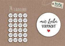 """24 x Geschenkaufkleber """"mit Liebe verpackt"""" 40mm weiß Etiketten Aufkleber"""