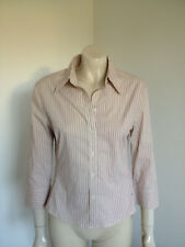 Cue Striped Career Button Down Red White Shirt with Ruching Size 12 ?