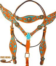 USED WESTERN SHOW BRIDLE HEADSTALL REINS BREAST COLLAR LEATHER HORSE TACK SET