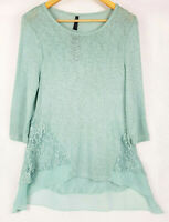 CROSSROADS Womens Light Knit Spearmint 3/4 Sleeve Top with Lace - Size 12 BNWT