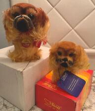 New listing Vintage Steiff Mohair 2 Stuffed Animal Pekingese Peky 2 Dogs Large & Small W/Box